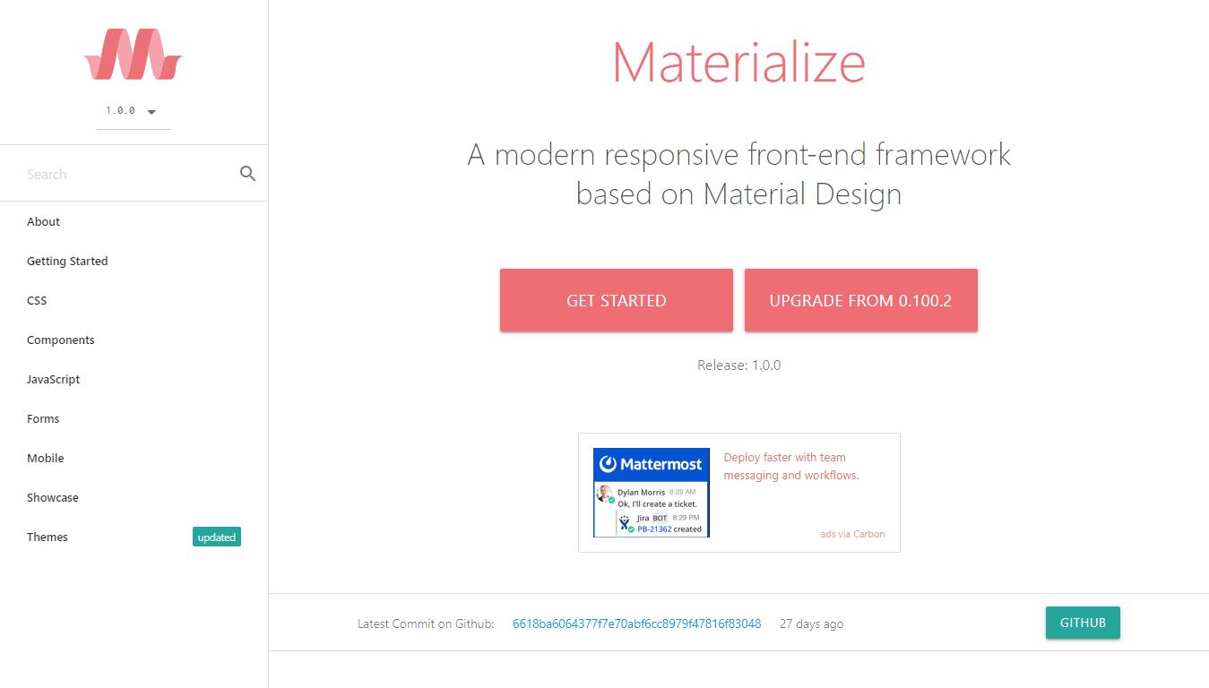 Materialize Material Design Framework