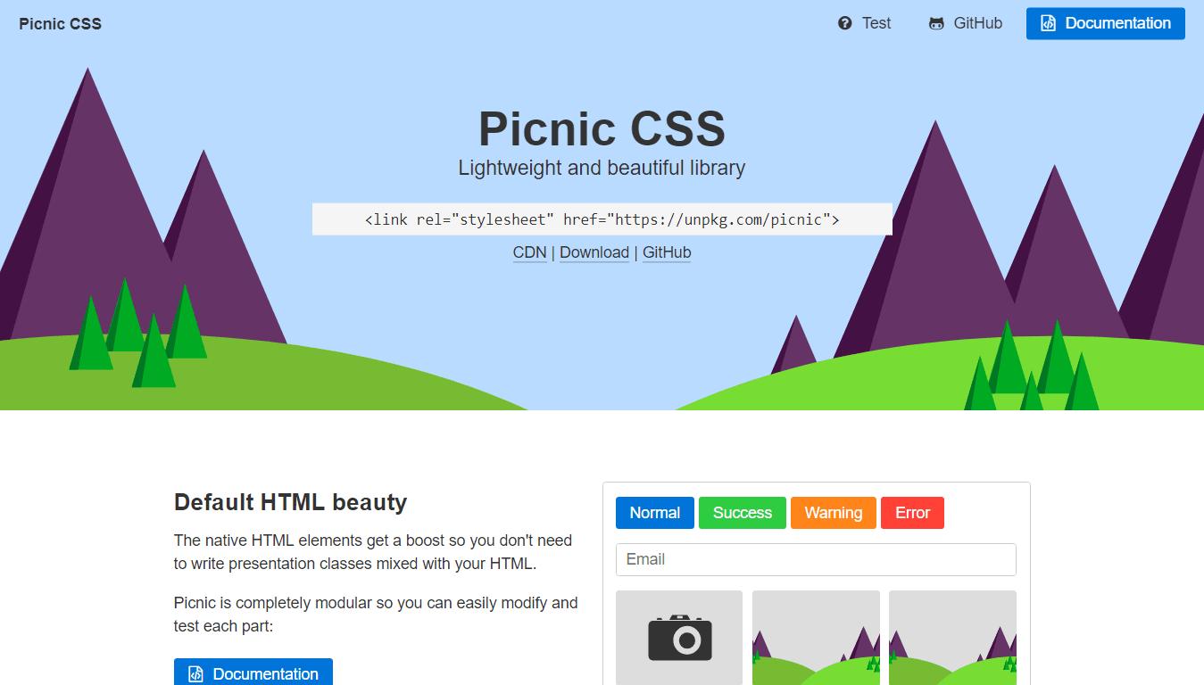 Picnic CSS for Responsive Design
