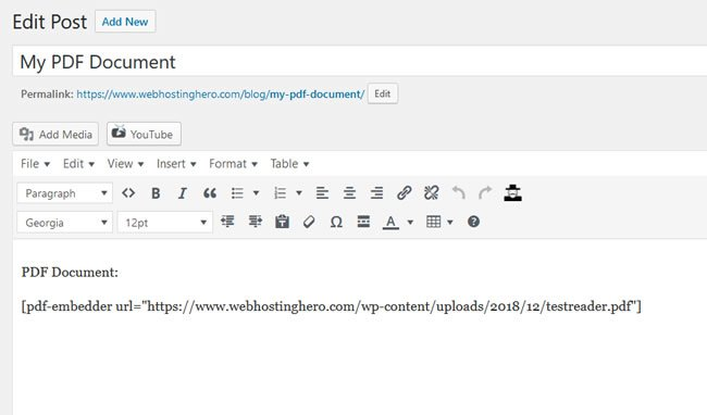PDF Embedder Shortcode